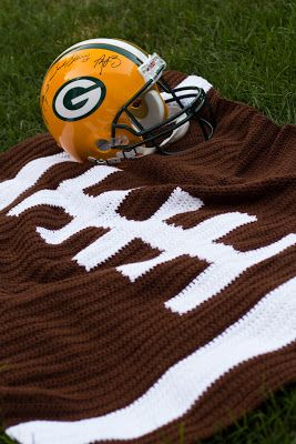 Crocheted football blanket! I made this. :)