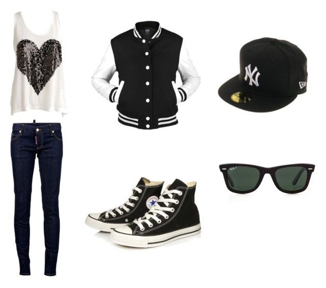 """Teenage Dream"" by danijela-pepa ❤ liked on Polyvore featuring Dsquared2, Converse, New Era and Ray-Ban"
