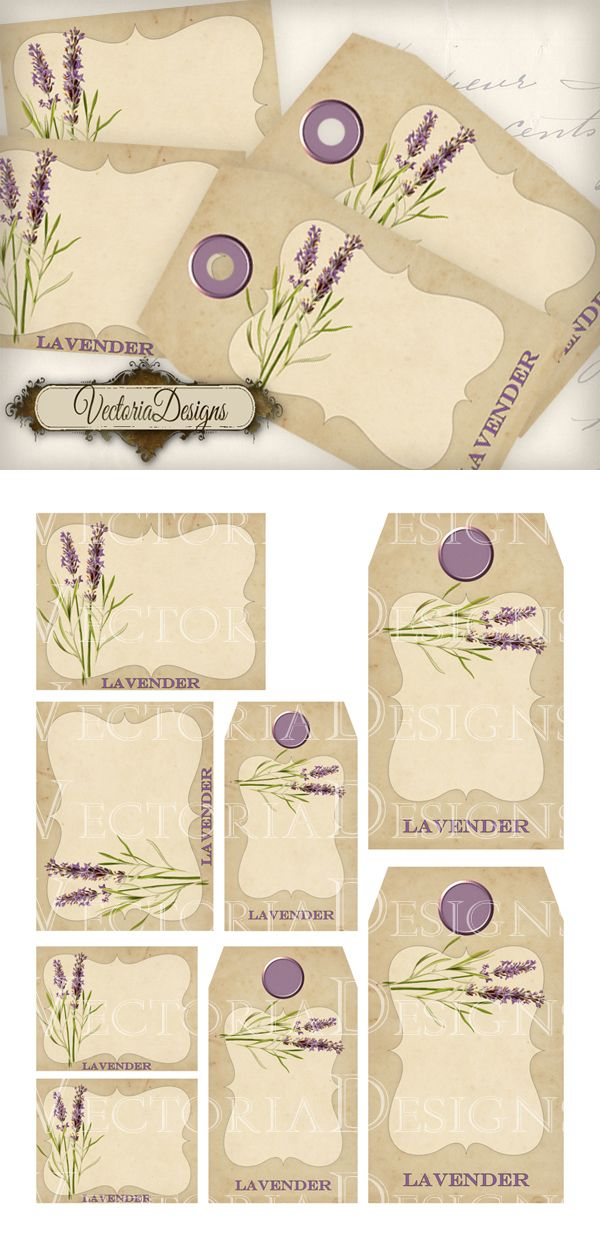 "Lavender Tags and Labels: print out and use these for your bathroom bottles, perfume bottles, kitchen jars, school items, books, ... You get: ° 2 high quality (300dpi) 3.25"" x 2.5"" labels ° 2 high ..."