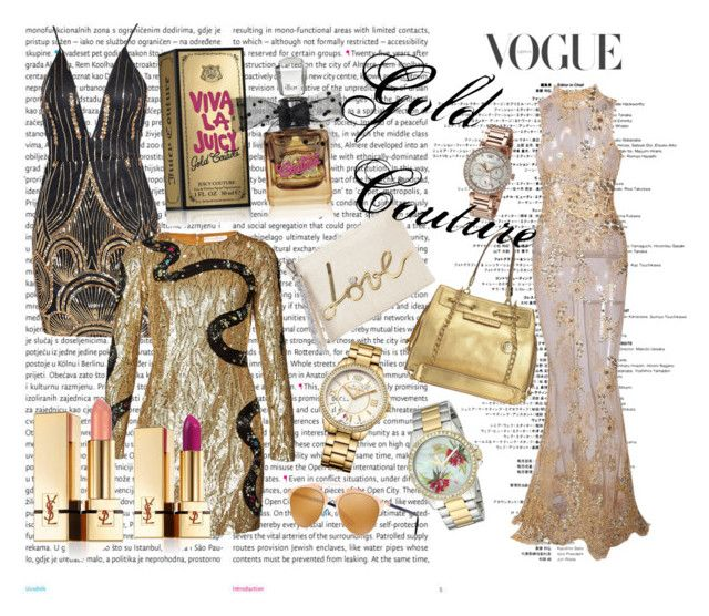 """Gold Couture"" by andrea-levander on Polyvore featuring Oris, Matthew Williamson, Yves Saint Laurent, Juicy Couture and Christian Dior"