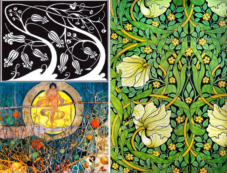 William Morris' fantasy-like patterns are well-known (right image), but on the left you see often overlooked work by Beardsley and Charles Rennie Mackintosh: