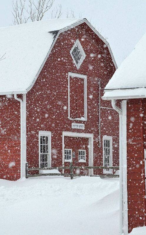 Red Barn in snow storm.