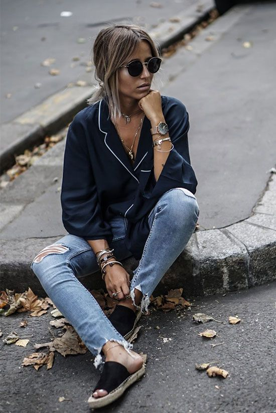 spring outfit, summer outfit, casual outfit, summer trends 2016, comfy outfit, edgy outfit - navy pajama top, navy silk piped top, distressed crop jeans, black espadrille sandals, black round sunglasses