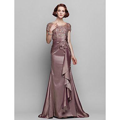 Sheath/Column+Scoop+Sweep/Brush+Train+Taffeta+And+Lace+Mother+of+the+Bride+Dress+–+AUD+$+174.72