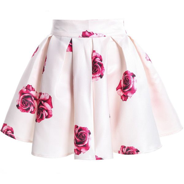Rose Print Flare White Skirt ($16) ❤ liked on Polyvore featuring skirts, mini skirts, bottoms, saias, faldas, white, flared floral skirt, flower print skirt, flared skirt and white flare skirt