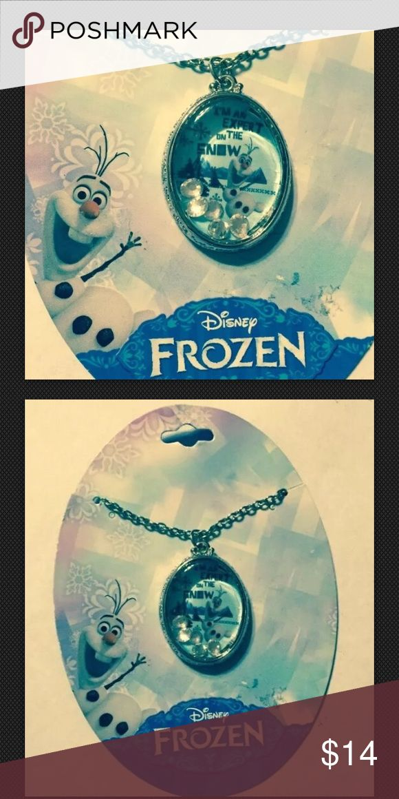 """Disney Frozen Olaf Necklace Dome 5 Crystals Inside Olaf necklace with clear cover includes 5 crystals says, """"I am an expert on the snow."""" Look for other Disney Frozen jewelry accessories that we are selling. Accessories Jewelry"""