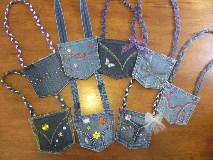 Upcycled denim pocket purses