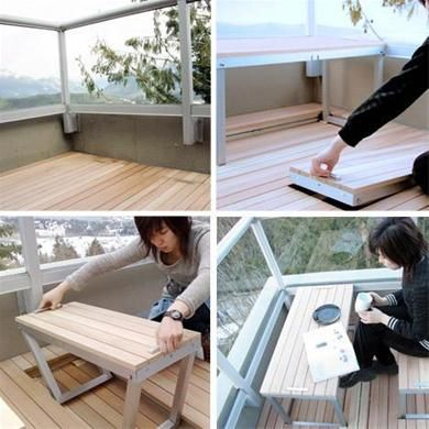 hidden balcony table and seating
