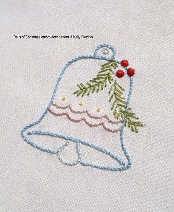 Bells of Christmas modern hand embroidery pattern  modern