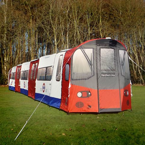 Modelled on a Northern Line carriage     7 zip-separated compartments     2 side doors and a drivers door     Doors open, just like on the original     Fly sheet doors separate inner compartments     Officially licensed  Technical Specifications:      Waterproof groundsheet is velcroed into the inside of tent     Sleeps 16 adults