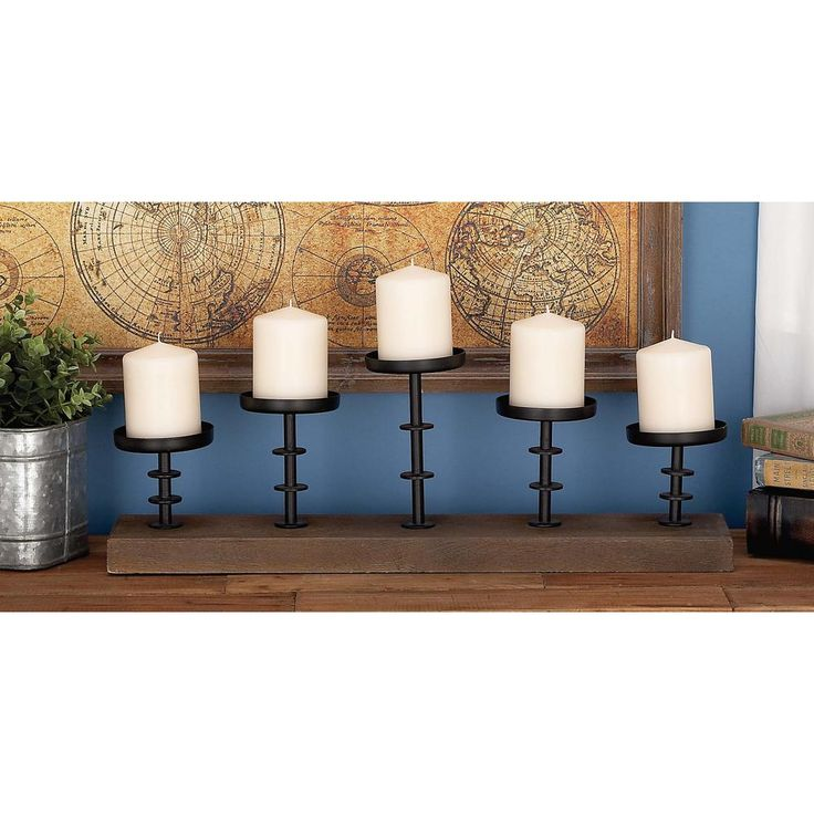 13 in. x 24 in. Rustic Farmhouse Iron, Glass and Mango Wood Candle Holder, Browns/Tans