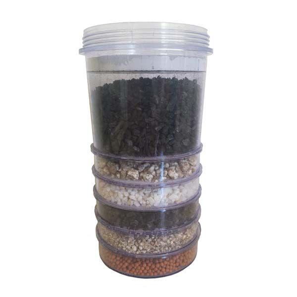 Activated carbon water filter – mulit-stage cartridge. The activated carbon water filter cartridge ensures you clean, healthy and great tasting drinking water. The other elements of Ion Exchange Resin, Natural Silica Sand, Mineral Zeolite Granules, Mineral Sand Infusion.