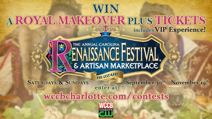 Enter to win a 4-pack of tickets (2 adult, 2 child) and a VIP experience - including a royal makeover, for this years Carolina Renaissance Festival! Four runner up winners will each get a 4-pack of tickets too!