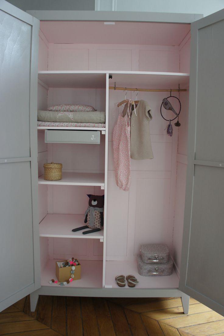 best  armoire fille ideas on pinterest  armoire chambre bébé  - armoire parisienne beige et rose poudré