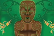 Tane Mahuta - Maori Gods series - by Hika Taewa - the mighty Tāne Mahuta (god of the forest) lay on his back and dug his shoulders deep into his mother's body. With his legs, Tāne pushed against his father and, with all the strength he could summon, attempted to let light into the world.