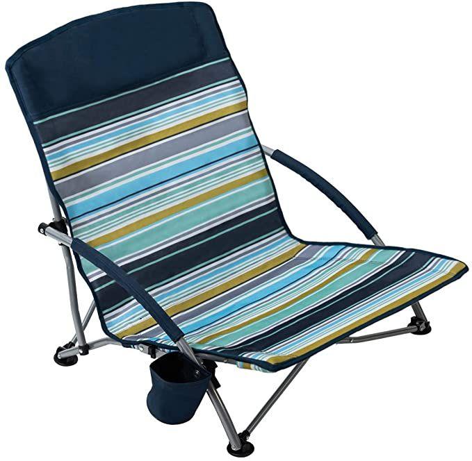 Amazon Com Pacific Pass Beach Chair Folding Lightweight Camping Chair Low Profile Camp Chair With Cup Holder Beach Chairs Best Beach Chair Folding Beach Chair
