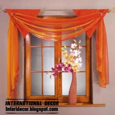 orange curtain, top types of curtains 2014, scarf curtains designs