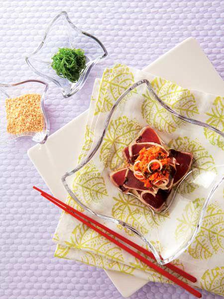 【ELLE a table】かつおのたたき キムチ和えレシピ|エル・オンライン
