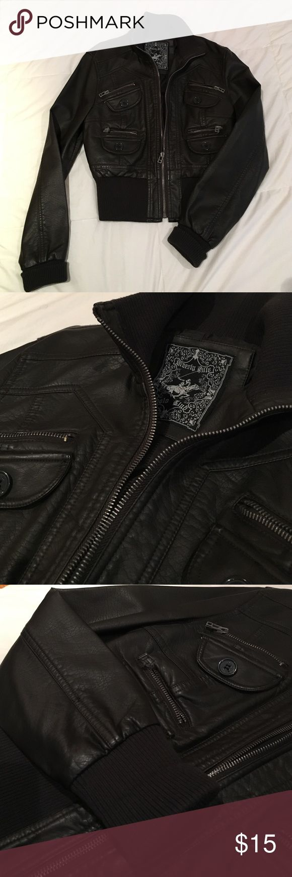 Beverly Hills Polo Club pleather jacket Dark brown short pleather jacket. Cute and stylish. In new condition. Jackets & Coats