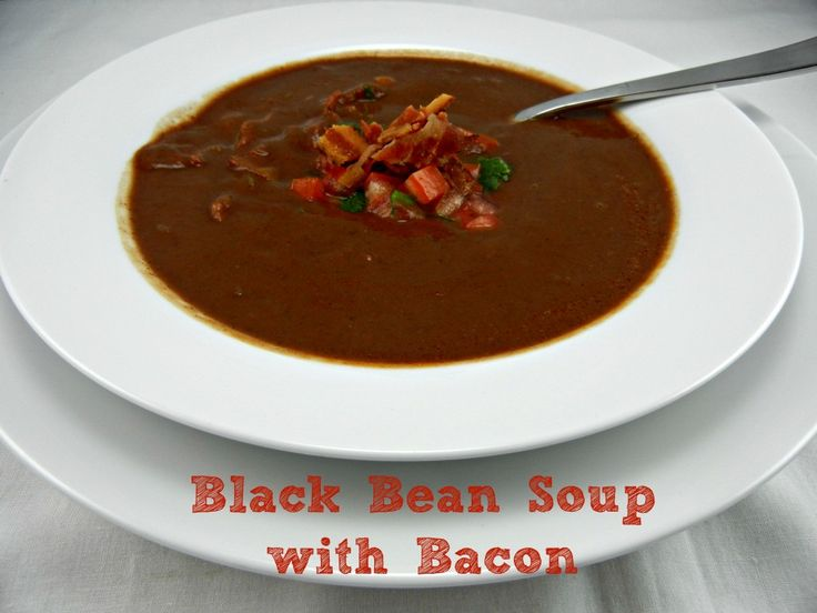 Black Bean Soup with Bacon. Recipe posted at www.thetastyfork.com #soup #bacon #baconmonth