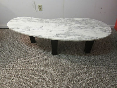 Mid Century Danish Modern Kidney Shaped Marble Coffee Table Nice | EBay
