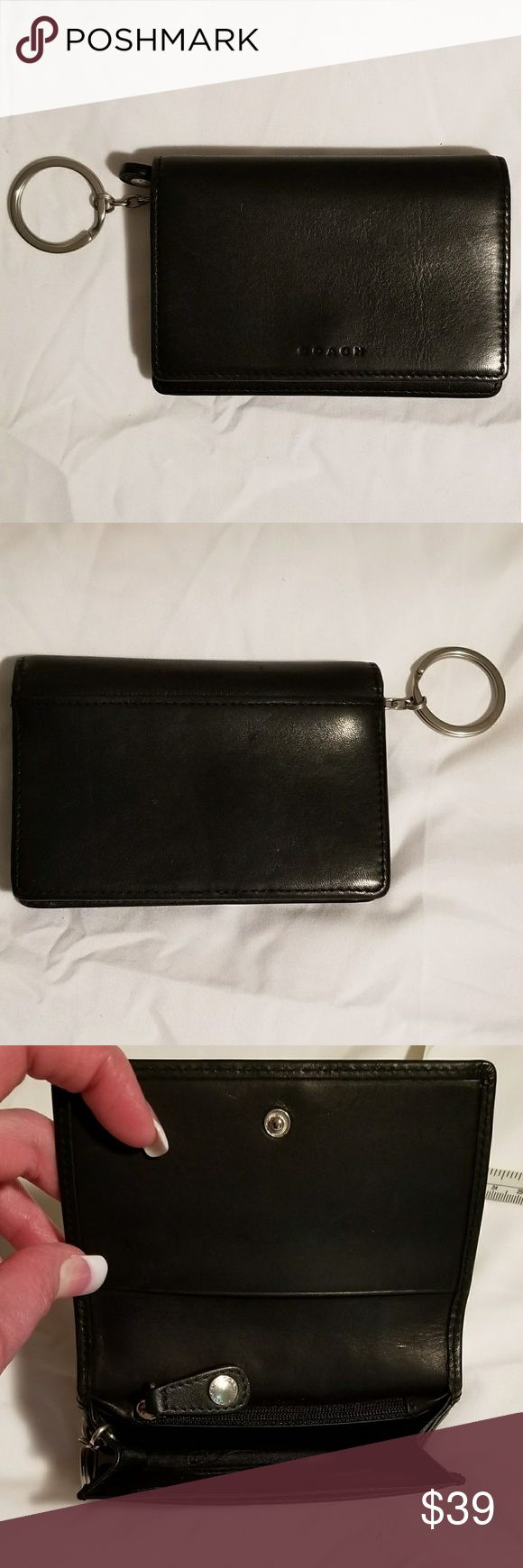 "Vintage Coach Wallet Keychain Never Used Vintage Coach Wallet Keychain Buttery Soft Black Leather, Silver Hardware Just Cleaned & Conditioned I've Had For Years In A Drawer But, Never Used Flap Has Snap Closure & One Slit Pocket Inside Flap, One Outside Slit Pocket On Back, One Inside Slit Pocket On Front, One Large Expandable Pocket Inside, One Zip Compartment Inside, One Slit Pocket Behind Zip Compartment & Attached Silver Key Ring.  Tons Of Storage For A Smaller Wallet!! Measures 5"" Wide…"