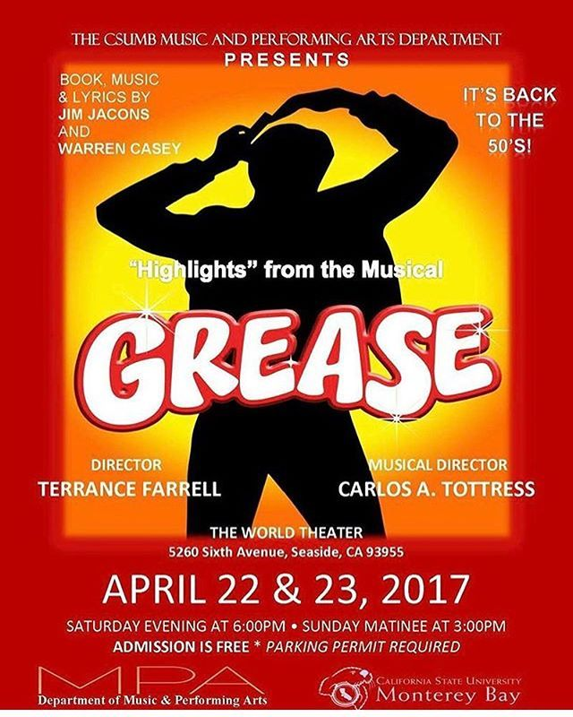 If you missed it tonight, it's not too late to go back to the 50's with yours truly and the rest of the cast of CSUMB'S 'GREASE'! The final performance is tomorrow at 3 in the World Theater. Free admission . . . . . . . . . . . . . . . #monterey #grease #musical #bayarea #csumb #montereybay #carmel #salinas #seaside #marina #sing #dance #act #montereybaylocals - posted by Theresa Ann Cerros https://www.instagram.com/resa_relates - See more of Monterey Bay at http://montereybaylocals.com