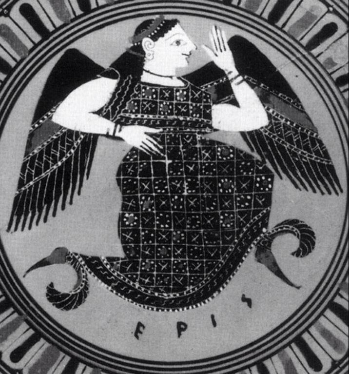 Eris, goddess of discord. Greek vase painting