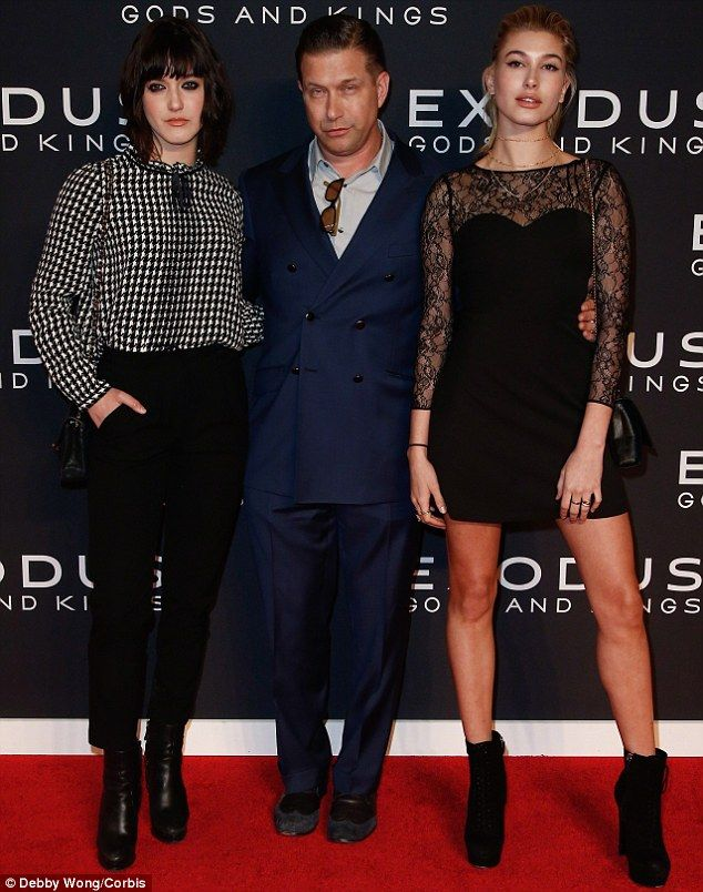 Not father approved: Her father Stephen Baldwin stated that Hailey and Justin should 'just be friends' (pictured at the Exodus premiere in NYC in December with eldest daughter Alaia)