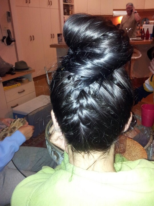 Braid diagonally into messy bun