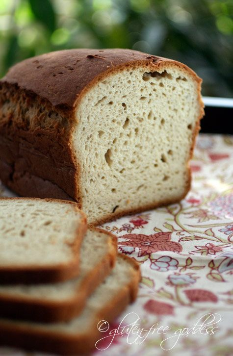Gluten free bread loaf that is soft and fragrant and if you sub in sucrose for honey, it's only 1T of sugar a loaf!    03/11/2012-I made this today. Used the potato flour option, added the extra 1/8 cup water and used coconut nectar for the sugar portion. I made it in my regular oven and it has turned out awesome! Even the wheat eating husband loves it. Woo! (Bonus points for being so easy compared to most GF breads).