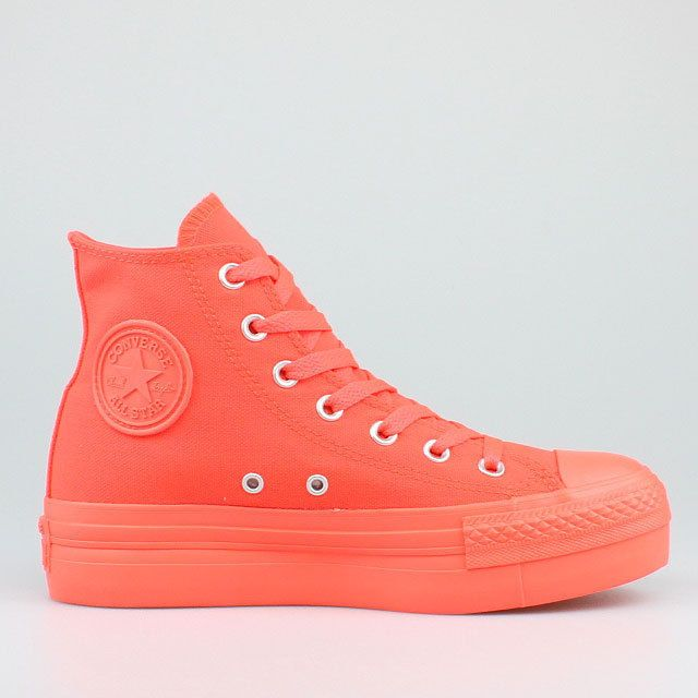 CONVERSE ALL STAR CHUCKS PLATFORM HI NEON ORANGE FIERY CORAL PLATEAU