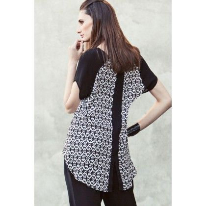Bali Print Top W Contrast Sleeves And Black Panel from repertoire.co.nz