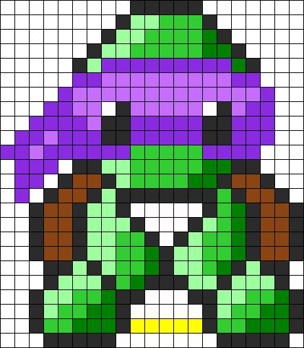 Ninja Turtles Donatello Perler Bead Pattern / Bead Sprite