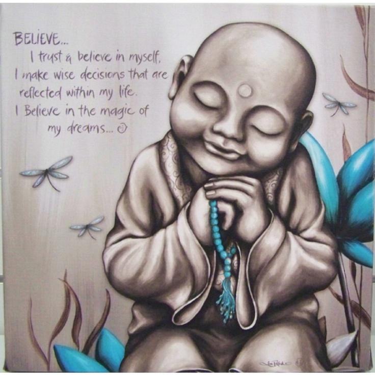 Tattoo Quotes Buddha: Lisa Pollock Art Aqua Monk Believe Canvas Print Wall Art
