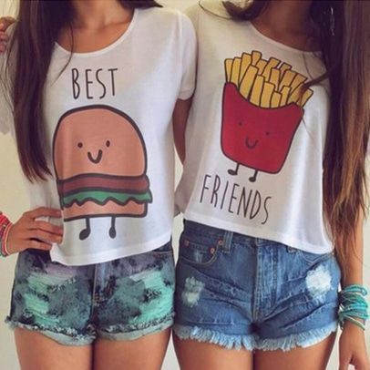 Best Friends Hamburger and Potatoes T-shirts