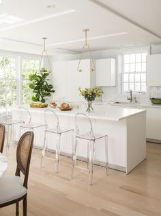Clear acrylic dining stools!