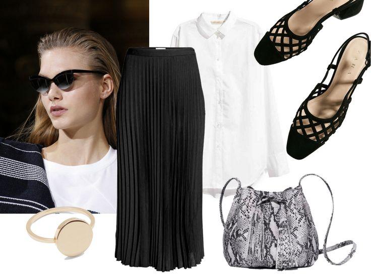 Spring Essentials. H&M Trend Skirt, Block Heels Zara, White Shirt H&M, Zofia Chylak Bag, Gold Ring Cos. More on afnewsletter.com
