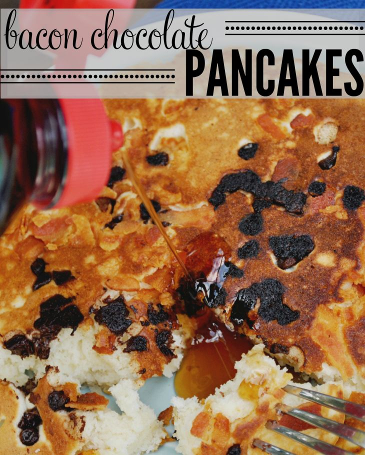 Whip up a batch of Chocolate Chip Bacon Pancakes for your next morning brunch! This breakfast meal gets an upgrade with sweet chocolate and crisp bacon!