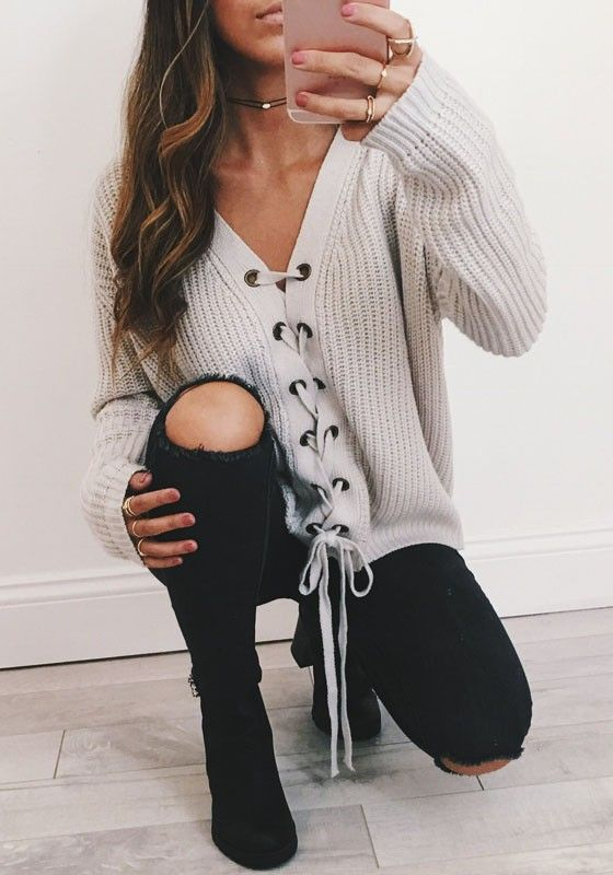 Grey Plain Drawstring Collarless Long Sleeve Pullover Sweater