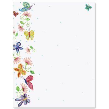 Floral Butterflies Letter Paper