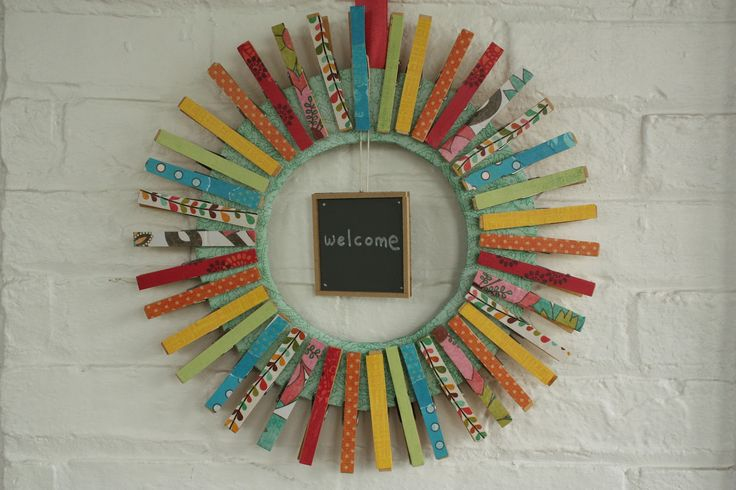 Colorful Summer Clothespin Wreath.. Great for the farmhouse