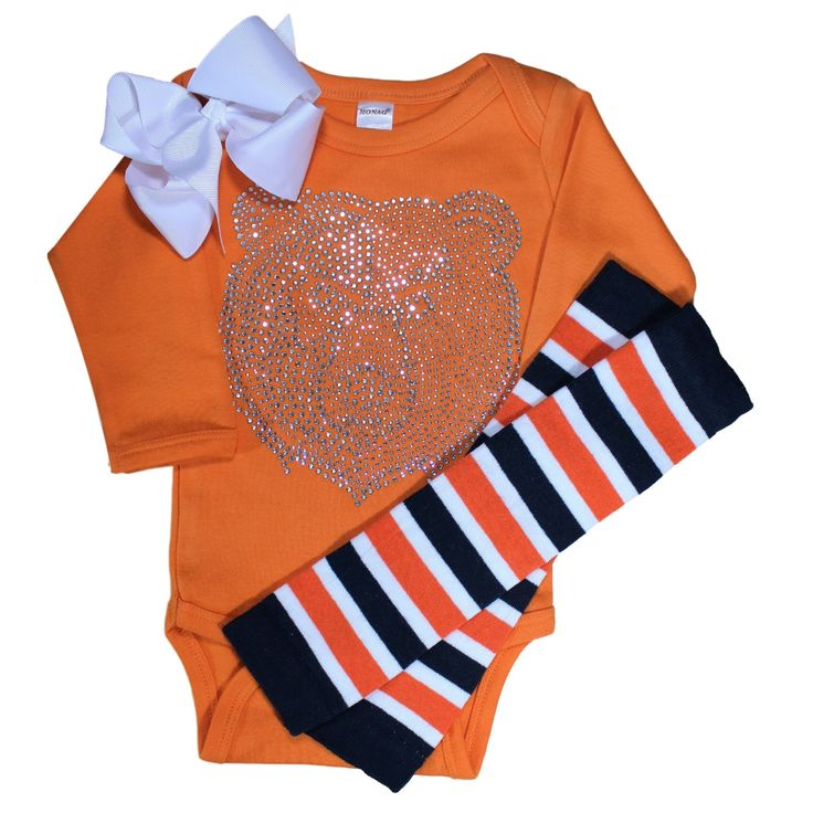 Infant / Toddler / Baby Long or short sleeve, Large Chicago Bears, Clear Crystal Rhinestone outfit with 2 leg warmer/bow color choices by…