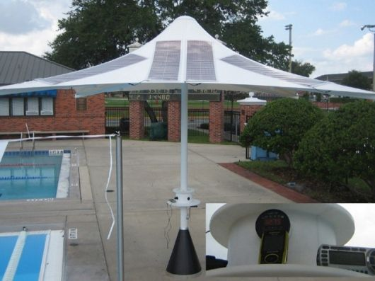 The Powerbrella does the work of two: it provides shade and solar-generated power