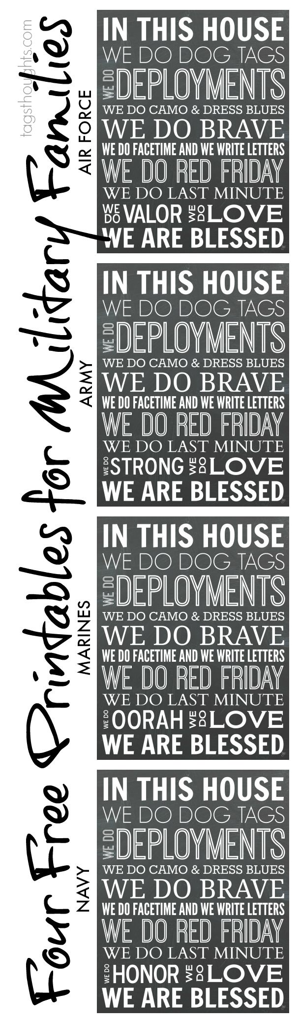 Free Printables for Military Families; In This House, We Do. Printables for Air Force, Army, Marines & Navy. TagsThoughts.com