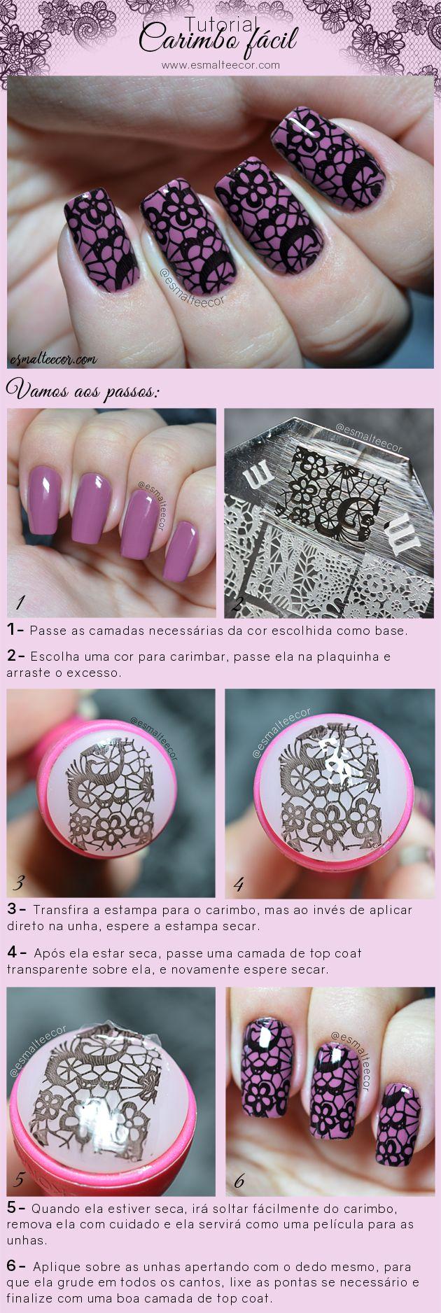 tutorial nail art carimbo