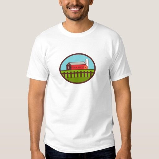 Farm Barn House Silo Oval Retro T Shirt. Illustration of a farm house barn and silo with fence set inside oval shape done in retro style. #Illustration #FarmBarnHouse