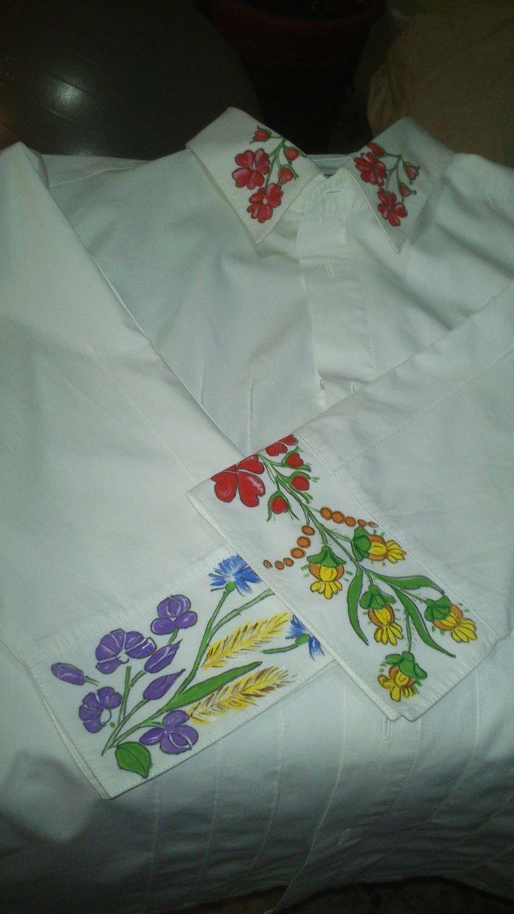 Camisa de manga larga, pintada a mano. Kézzel festett hosszú ujjú nöi ing.
