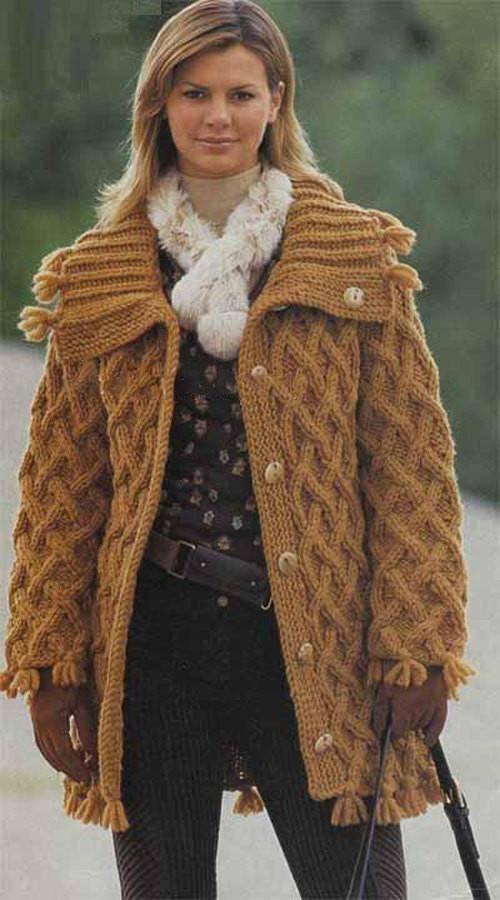 Womens Chunky Hand Knit Cardigan.70D