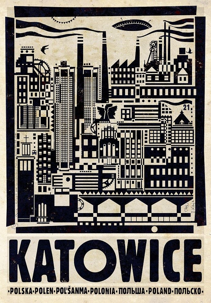 Polish poster by Ryszard Kaja, promoting Katowice. It's a city in Silesia in southern Poland.